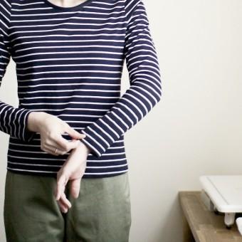 FAB #033 コットンボーダー天竺ニットのロングスリーブTシャツ(やっぱり30番細糸は気持ちいい)