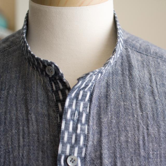 久留米絣のプルオーバーシャツ