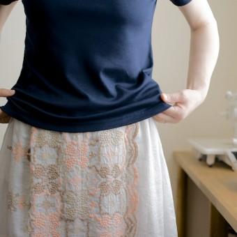 FAB #064 型紙がいらないスカート4(スカラップ刺繍の巻きスカート編)