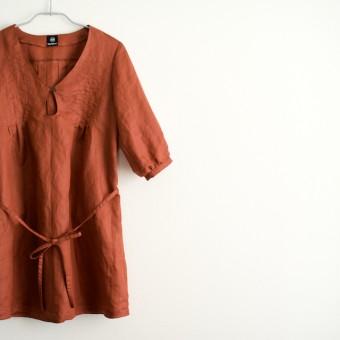 FAB #077 秋色サージの五分袖ワンピース(オリジナルパターン#004)