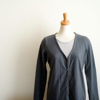 FAB #079 コットン&リネン天竺ニットのカーディガン(ロングTシャツをアレンジ)