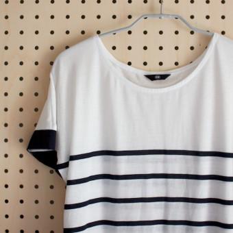 FAB #089 パネル送りボーダーのフレンチスリーブTシャツ