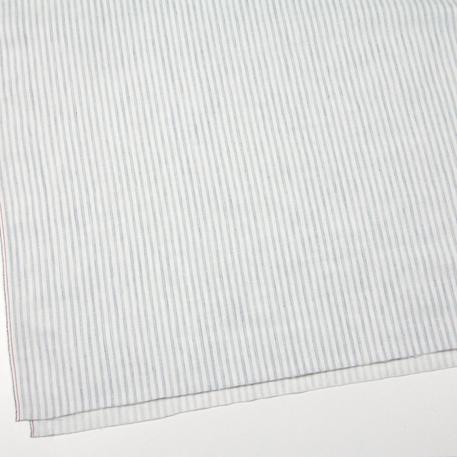 コットン×ストライプ(オフホワイト&ブルーグレー)×Wガーゼ