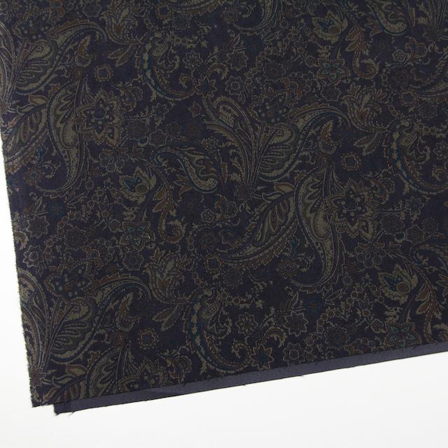 ポリエステル&ポリウレタン×ペイズリー(チャコールブラック)×スエードかわり織ストレッチ_全2色