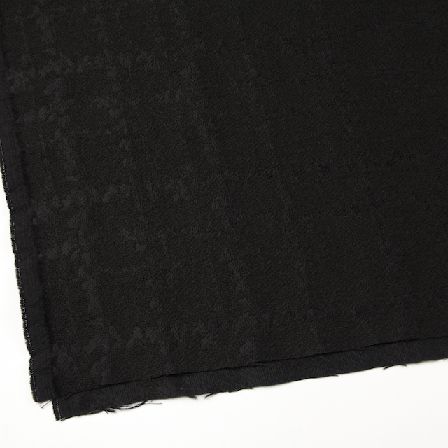 ウール&キュプラ×幾何学模様(ブラック)×ジャガード_全2色