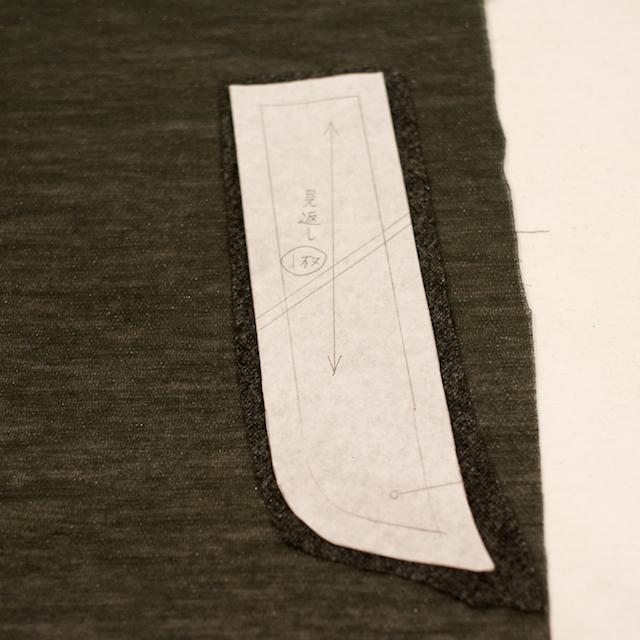 粗裁ちしたパーツを型紙がわりにして、接着芯をカット