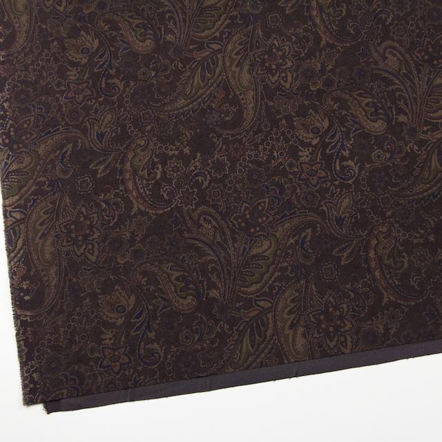 ポリエステル&ポリウレタン×ペイズリー(ダークブラウン)×スエードかわり織ストレッチ_全2色