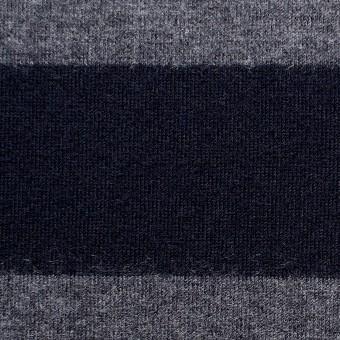 ウール×ボーダー(グレー&ネイビー)×天竺ニット