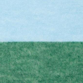 コットン×ボーダー(サックス&グリーン)×天竺ガーゼニット