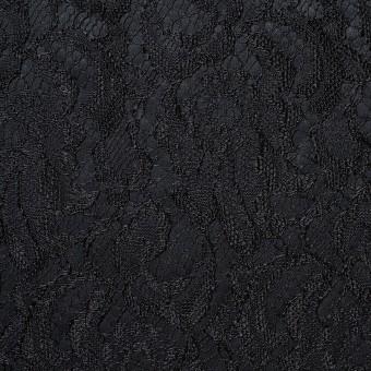 ポリエステル×フラワー(ブラック)×サテン&レース_イタリア製