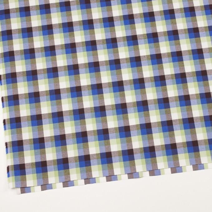 コットン×チェック(イエローグリーン&ロイヤルブルー)×サージ_イングランド製 イメージ2