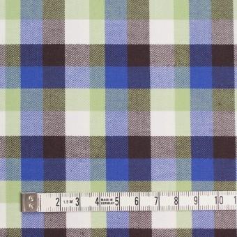 コットン×チェック(イエローグリーン&ロイヤルブルー)×サージ_イングランド製 サムネイル4