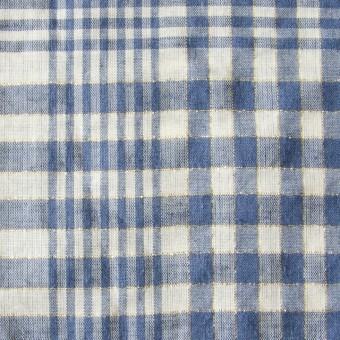 コットン&リネン×マドラスチェック(サルビアブルー)×ローン_全3色