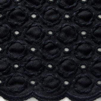 コットン&ポリエステル×無地(ブラック)×ジョーゼット刺繍