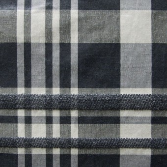 ポリエステル&ウール混×チェック(ブラックミックス)×タフタ_イタリア製