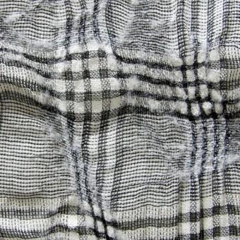 リネン&ウール×チェック(白黒)×ボイルワッシャー
