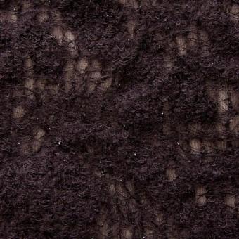 ウール&ナイロン×フラワー(ダークブラウン)×ループレース_全2色