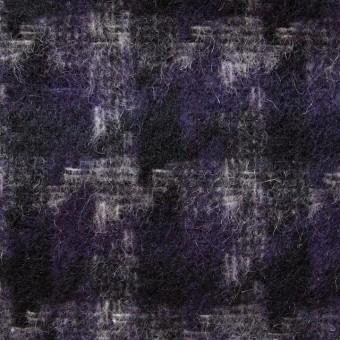 ウール&ポリエステル×ミックス(パープル&ネイビー)×千鳥格子