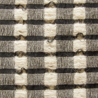 ウール&モヘア×チェック(ブラック&ベージュ)×かわり織