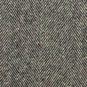 ウール&ナイロン×ミックス(アイボリー&ブラック)×ヘリンボーン