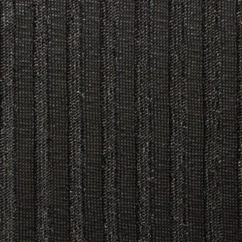 ポリエステル×無地(ブラック)×リブニット_フランス製