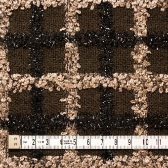 ウール&コットン混×チェック(ブラウン)×ジャガード_イタリア製