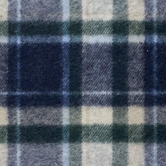 コットン×チェック(グリーン&ブルー)×フランネル_全3色