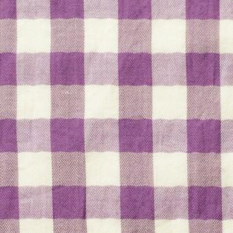 コットン×ギンガムチェック(グレイッシュパープル)×ヘリンボーン_全2色