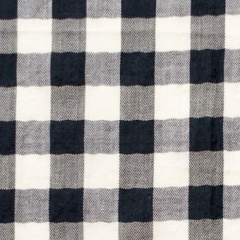 コットン×ギンガムチェック(ブラック)×ヘリンボーン_全2色