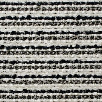 ウール&ナイロン混×ボーダー(ホワイト&ブラック)×ファンシーツイード
