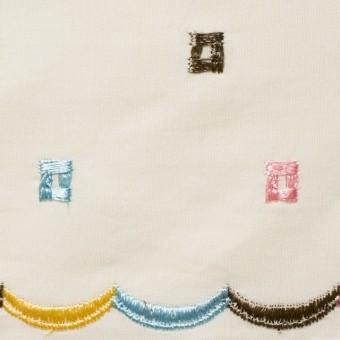 コットン&シルク×幾何学模様(アイボリー)×ブロード刺繍_全3色