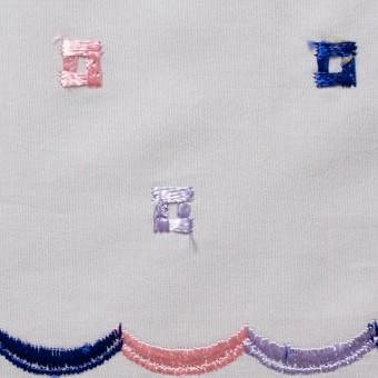 コットン&シルク×幾何学模様(ライトグレー)×ブロード刺繍_全3色