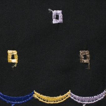 コットン&シルク×幾何学模様(ブラック)×ブロード刺繍_全3色