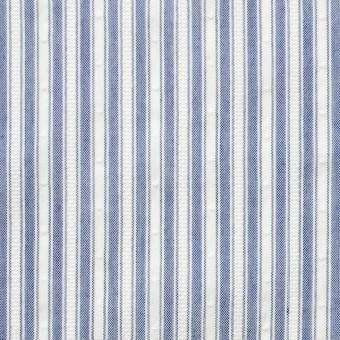 コットン&ポリ混×ストライプ(ブルー)×からみドビー