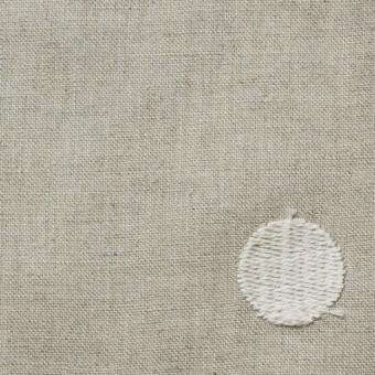 リネン×ドット(グレイッシュベージュ)×薄キャンバス刺繍