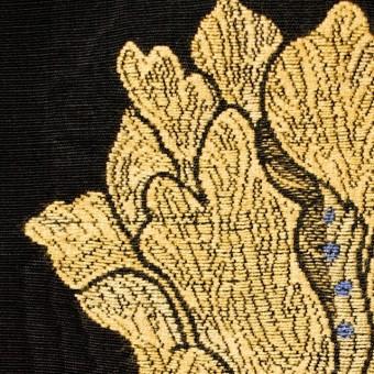 ビスコース&アセテート×フラワー(ゴールド&ブラック)×ジャガード_ベルギー製