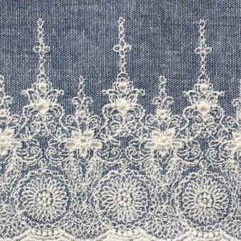 コットン×フラワー(ブルー)×ダンガリー刺繍_全2色