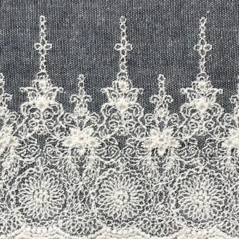 コットン×フラワー(ネイビー)×ダンガリー刺繍_全2色