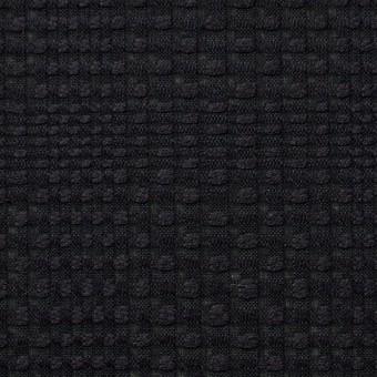 コットン×チェック(ブラック)×からみ織