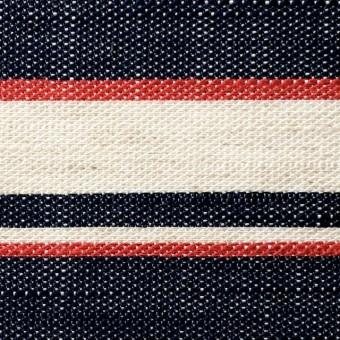 リネン&コットン混×ボーダー(トリコロール)×かわり織