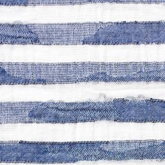 コットン×ボーダー(ブルー)×迷彩ジャガード_全2色