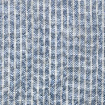 コットン&リネン×ストライプ(ブルー)×Wガーゼ_全2色