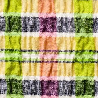 ポリエステル&レーヨン混×チェック(イエローミックス)×シャーリング_全3色
