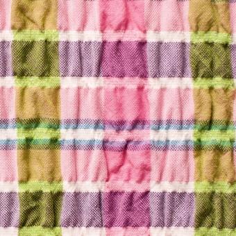 ポリエステル&レーヨン混×チェック(ピンクミックス)×シャーリング_全3色
