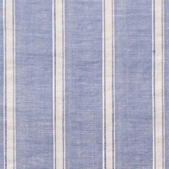 コットン&リネン×ストライプ(ブルー)×薄ダンガリー_全3色