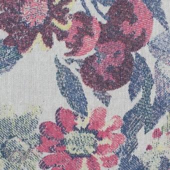 コットン&ポリエステル×フラワー(ラスティレッド)×ダンガリープリント_全2色
