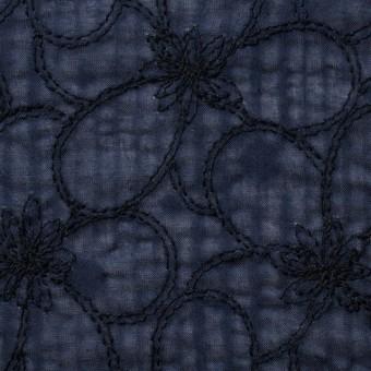 コットン×フラワー(ネイビー)×ローンリップル刺繍_全3色