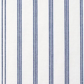コットン×ストライプ(オフホワイト&ブルー)×ブロード