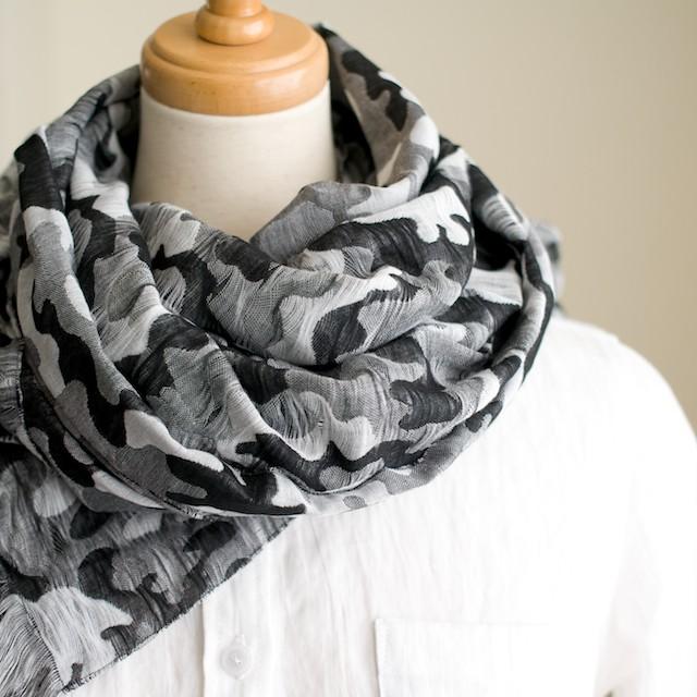 二重織ジャガードのストールキット(ブラック&グレー) イメージ2