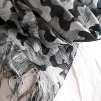 二重織ジャガードのストールキット(ブラック&グレー) サムネイル3